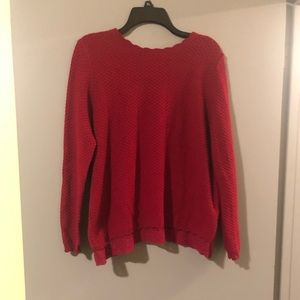Cozy Red Sweater w/ Lace Detailing! Worn Once! 🖤